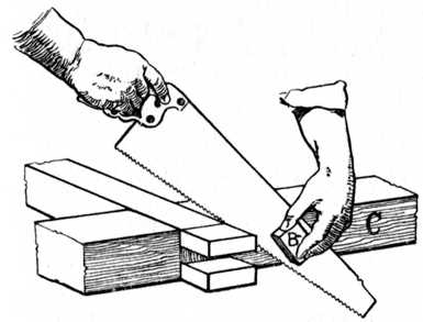 92.—Sawing off Waste from Bridle Joint.(See reference on page 39